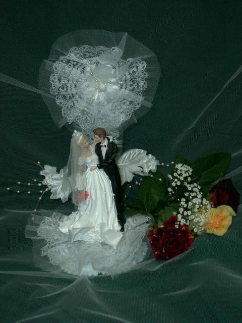 Poly-Brautpaar mit Tüllrosette (#53)